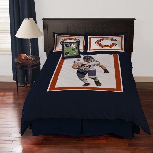 Nfl Biggshots Bedding - Chicago Bears Brian Urlacher Comforter Set And Toss Pillow, Queen front-923588