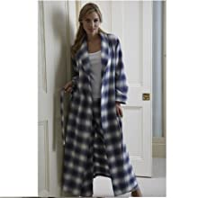 The Irish Linen Store Womens Katherine Brushed Cotton Robe Tartan
