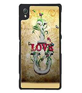 Printvisa Brown Background Love Quote Back Case Cover for Sony Xperia Z3::Sony Xperia Z3 D6653 D6603