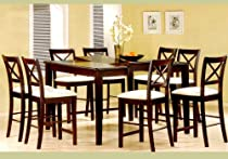 Hot Sale 9pc Cappuccino Wood Counter Height Dining Table & 8 Chairs Set