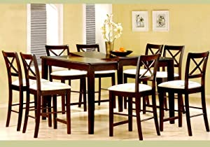 9pc cappuccino wood counter height dining table 8 chairs set table