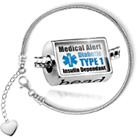Charm Set Medical Alert Blue Diabetic Insulin Dependant TYPE 1 - Bead comes with Bracelet , Neonblond from NEONBLOND