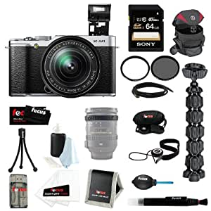 FujiFilm X-M1 16-50mm(Silver) Bundle with 64GB Deluxe Accessory Kit