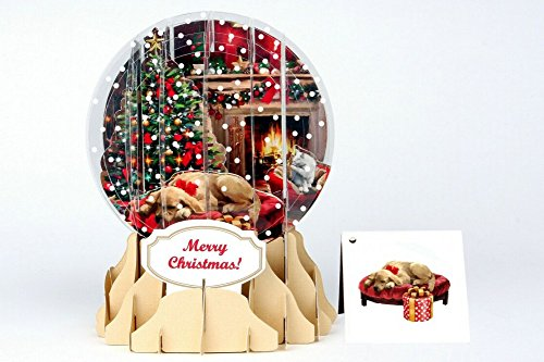Christmas Greeting Card Pop-up 3-d Snow Globe Holiday Holiday Room