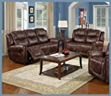 Nora Brown Leather Reclining Sofa, Loveseat 2 Pc Living Room Set - 3700