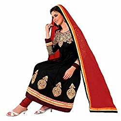 Ashika Women's Net Salwar Suit Dupatta Dress Material (8539_Black and Red_Free Size)