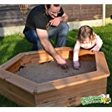 Wooden Children's 1.2m Hexagonal Sandpit with Underlay and Sand Pit Cover, Easy to assemble