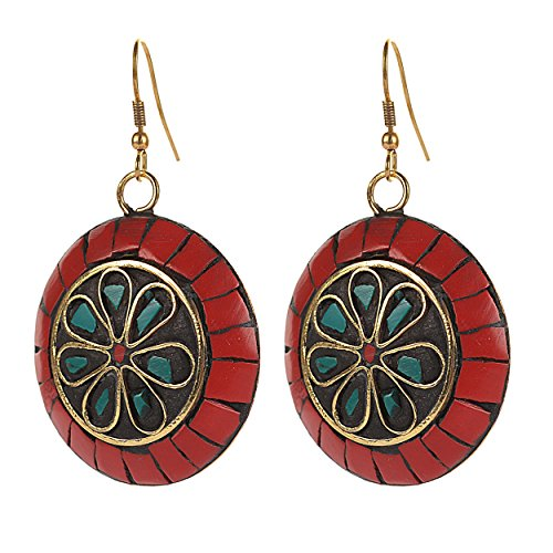 Zephyrr-Red-Green-Non-Precious-Metal-Dangle-Drop-Earrings-For-Women-Girls