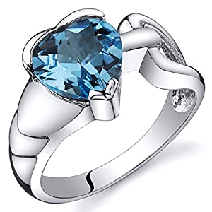 Revoni Love Knot Style 2.00 carats Swiss Blue Topaz Ring in Sterling Silver Size N 1/2,