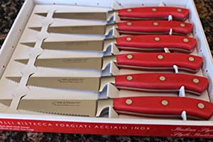 Brandani Grand Chef Steak Knife Set 6pcs -Red Handles - Stainless Steel