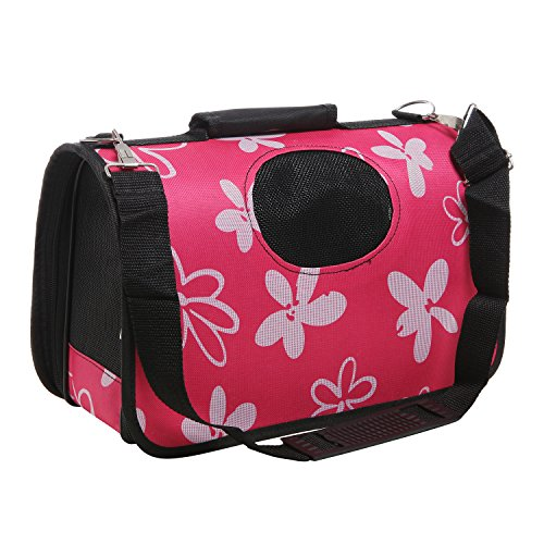 MG Collection Pink Daisy Pattern Collapsible Small Pet Carrier Travel Tote with Handle & Shoulder Strap