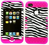 Verizon/At&T/Sprint Iphone 4 4S Leather Finish Zebra Snap On Over Silicone-Pink