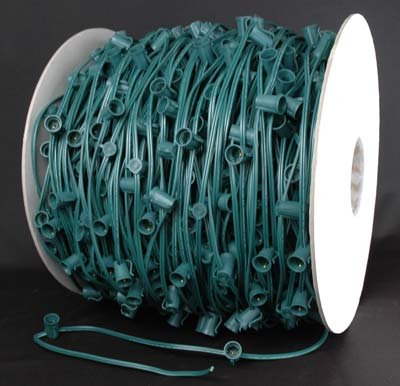 """Novelty Lights, Inc. C9-Mg12 Christmas Stringer Bulk Reel, Green Wire, 12"""" Spacing, Intermediate Base (C9/E17), Spt-1 7 Amp Wiring, 1,000' Reel"""