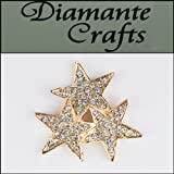 3D Stars in a group of 3 Gold Coloured Alloy Encrusted in Clear Diamantes - Decoden Kawaii Cabochon - 3DMS2013