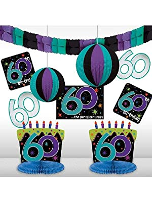 The Party Continues 60th Birthday Decorating Kit 10pc