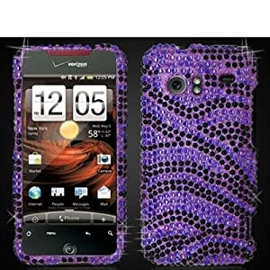 Purple n Black Zebra Bling Rhinestone Case Droid Incredible