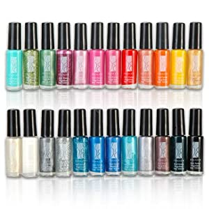 Fraulein 38 24 Color Nail Art Polish Painting Pen Brush