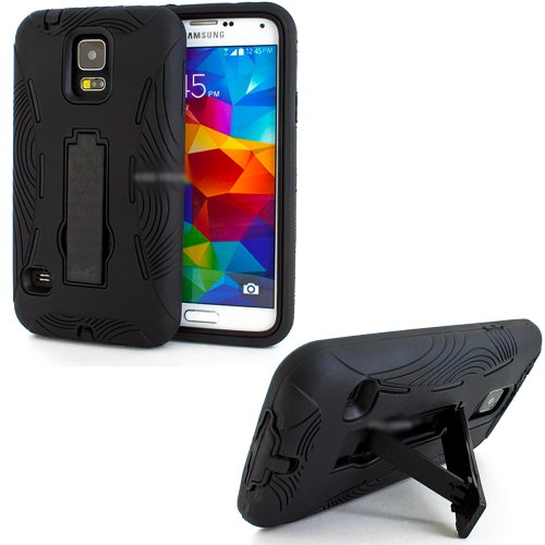 Mylife (Tm) Deep Smooth Black - Shock Suit Survivor Series (Built In Kickstand + Easy Grip Silicone) 3 Piece + 2 Layer Case For New Galaxy S5 (5G) Smartphone By Samsung (External Flex Silicone Bumper Gel + Internal 2 Piece Rubberized Snap Fitted Armor Pro