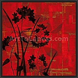 29in x 29in Silhouette on Red by Erin Lange - Black Floater Framed Canvas w/ BRUSHSTROKES