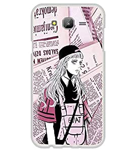 Fuson Premium Modern Girl Metal Printed with Hard Plastic Back Case Cover for Samsung Galaxy J7