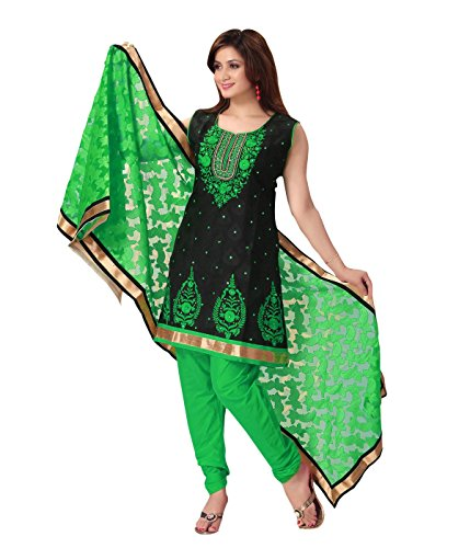 Idha - FREE Maybelline Colossal Kajal MRP 199 - Black-Green Straight Fit Supernet Zakad Machine Embroidery with Mirror work Festive/Party Wear Readymade Salwar Suits | GC1052