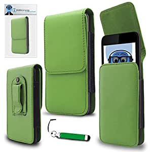 iTALKonline Samsung I547 Galaxy Rugby Pro Green PREMIUM PU Leather Vertical Executive Side Pouch Case Cover Holster with Belt Loop Clip and Magnetic Closure and Re-Tractable Captive Touch Tip Stylus Pen with Rubber Tip