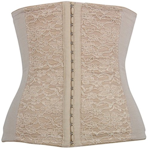 Spring Fever Women's Elasticity Steel Boned Lace Decorate Underbust Waist Diet Corset(S/Waist:24-26inch US Size 4-6, Apricot)