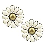 Yazilind Jewelry Bohemian Style Elegant Sunflower White Rhinestone Metal Stud Earrings