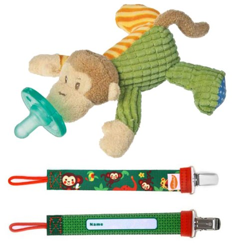 Mango Monkey WubbaNub and Ulubulu Bananabutt Pacifier Clip