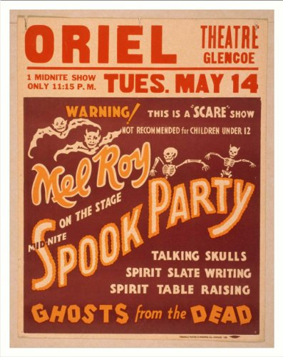 Historic Theater Poster (Xl), Mel Roy On The Stage Mid-Nite Spook Party Talking Skulls Spirit ...