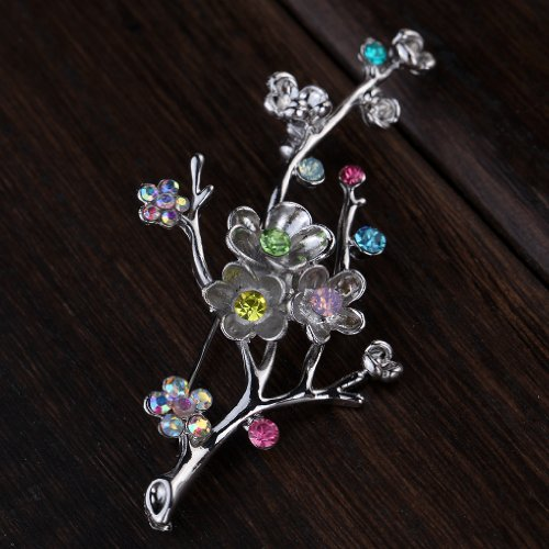Yazilind Vintage Branch Flower Leaves Colorful Crystal Gold Plated Brooches and Pins for Wedding Bouquet 1