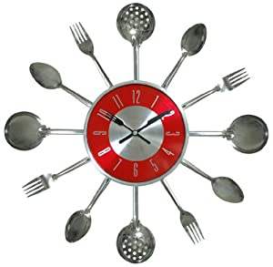 Amazon Com Verichron Utensil Clock Silver Home Amp Kitchen