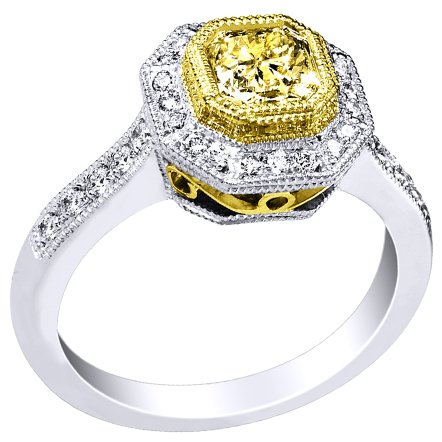 18K Two Tone Gold Egl Usa Certified 1.09Cttw Fancy Yellow Radiant Diamond Ring