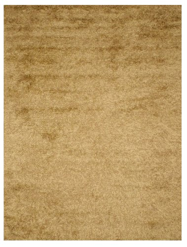 EORC OSHG1GD Handmade Wool and Viscose Shaggy Rug, 5 by 8-Feet, Gold