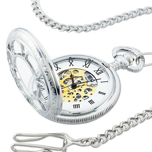"Kansas City Railroad Pocket Watch- Antique Style - in Silver Tone with Butterfly Hinge and 26"" Pocket Chain- Nostalgic Time-Piece inspired by Jesse James' Train Robbery 1874 - comes with Certificate of Authenticity (As Seen ON TV) - 1"