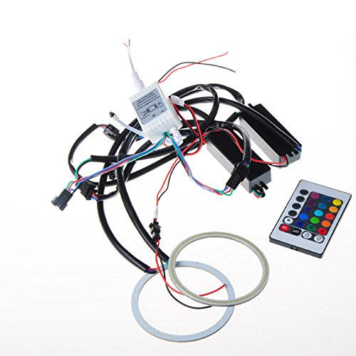 Suparee 2X 90Mm Led Multi-Color Rgb Cob Led Flashing Angel Eye Halo Ring Bulb Remote Controler Kit
