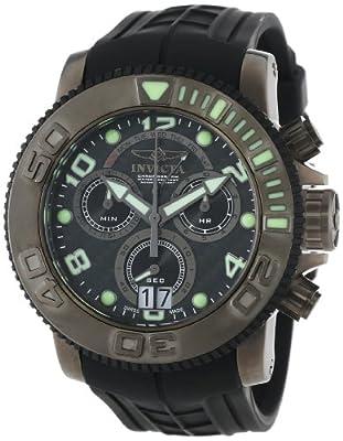Invicta Men's 1065 Sea Hunter Chronograph Black Carbon Fiber Dial Black Polyurethane Watch