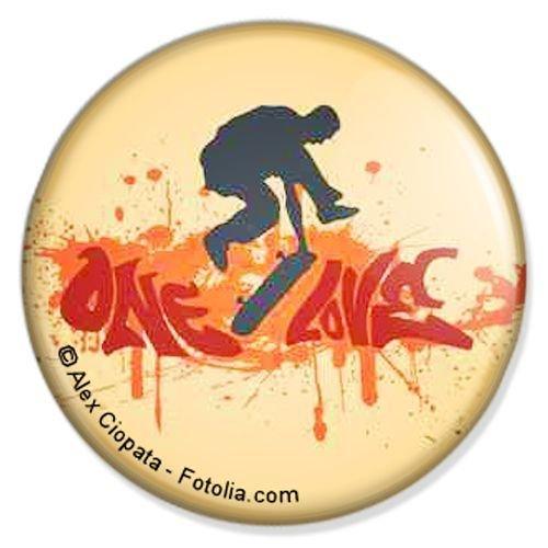 Button Skater One Love - Sport Badge, Sport Pin, Sport Anstecker, Sport Button, Sport Ansteckpin