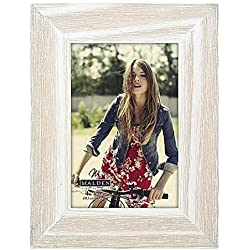 "Malden International Designs Rustic Fashion Wide Linear Wooden Picture Frame, 4"" x 6"", White"