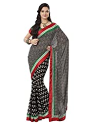 Prafful Gorgette Printed Saree With Unstitched Blouse - B00KNUQ17I