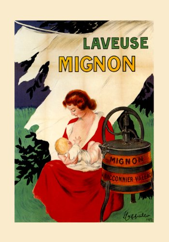 """Breastfeeding Mother Child Clothes Washer Machine Laveuse Mignon By Cappiello 16"""" X 22"""" Image Size Vintage Poster Reproduction We Have Other Sizes Available front-518640"""