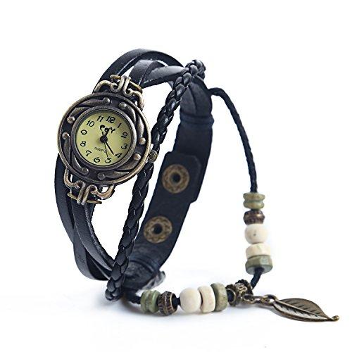 Dayan Leaf Charm Women Ladies Weave Wrap Around Leather Belt Bracelet Watch Black
