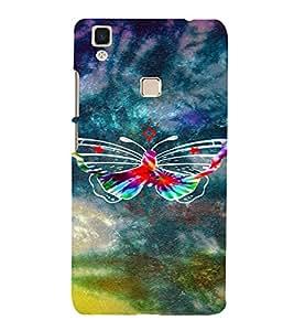PrintVisa Colorful Butterfly 3D Hard Polycarbonate Designer Back Case Cover for VivoV3