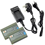 DSTE® 2pcs SLB-1437 Rechargeable Li-ion Battery + Charger DC42U for Samsung DIGIMAX V5, V4, V3, V50, V40, V6, V70, V4000, α5, α7, VP-D6050i