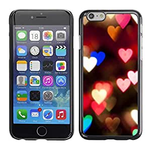 Omega Covers - Snap on Hard Back Case Cover Shell FOR Apple Iphone 6 Plus / 6S Plus ( 5.5 ) - Hearts Lights Pink Teal Night Blur Love
