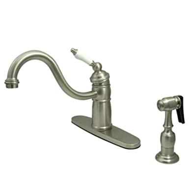 Elements of Design EB1578PLBS New Orleans Single Handle Kitchen Faucet with Brass Sprayer, Satin Nickel