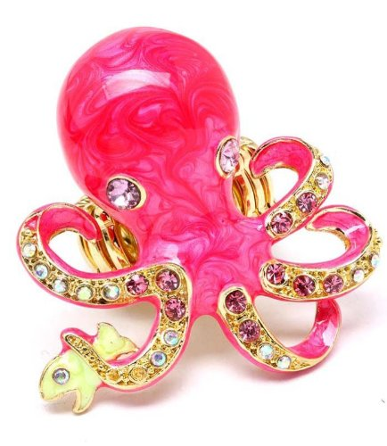 Oversize Octopus Ring Enameled Bejeweled with Crystals Stretch Band (Fuchsia)