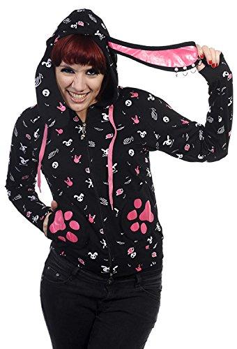 Felpa con cappuccio, colore: nero con motivo, di coniglio con orecchie e tasche, motivo zampe Bann nero Small