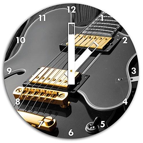 elegante-E-Gitarre-schwarzwei-Wanduhr-mit-eckigen-Zeigern-und-Ziffernblatt-Dekoartikel-Designuhr-Aluverbund-sehr-schn-fr-Wohnzimmer-Kinderzimmer-Arbeitszimmer