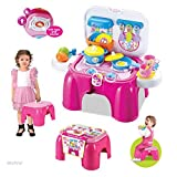 WolVol Compact Carry-on Kids Kitchen Cooking Set With Lights & Sounds, Folds Into Stepstool (Pink)